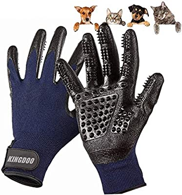 Pet ninja glove/Grooming Gloves for cat dog/Pets Hair Brush Remover Mitt/Enhanced Petting Glove Five Fingers Design/Perfect for Cats Dogs Horses with Long ...