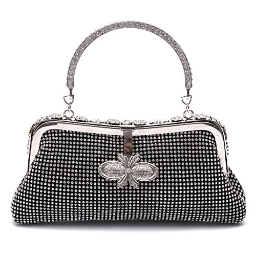 - Clutch Purse for Women Crystal Evening Bags and Clutches Rhinestone Evening Handbags (Black-C)
