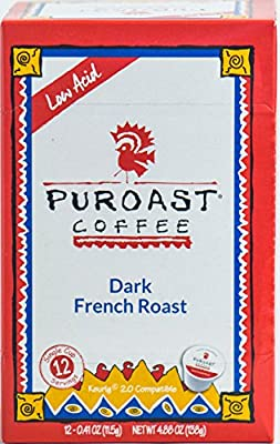 Puroast Low Acid Coffee French Roast Single Serve, 2.0 Keurig Compatible, 4.88 Ounce