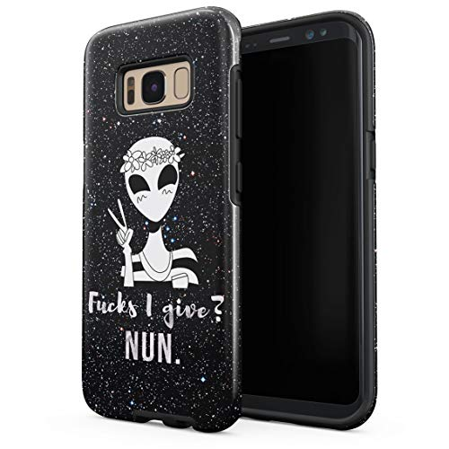 Cute UFO Alien in Stars Cosmos Fucks I Give? Nun Funny Quote Double Layer Hard PC Armor & Shock Absorbing TPU Tough Cover Shell for Samsung Galaxy S8 ()