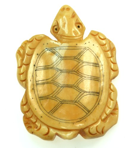(Beautiful tibet hand carved turtle ox bone pendant)