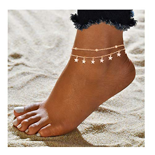 - Mocya Classic Star Anklet Gold Tone Layer Anklet Woman Anklet Jewelry Beach Jewelry Barefoot Chain