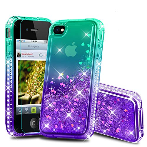 Atump iPhone 4 Case, iPhone 4S Case, Diamond Glitter Flowing Liquid Floating Protective Shockproof Clear TPU Girls Case for Apple iPhone 4/4S Green/Purple (4s Iphone Cases Bling)