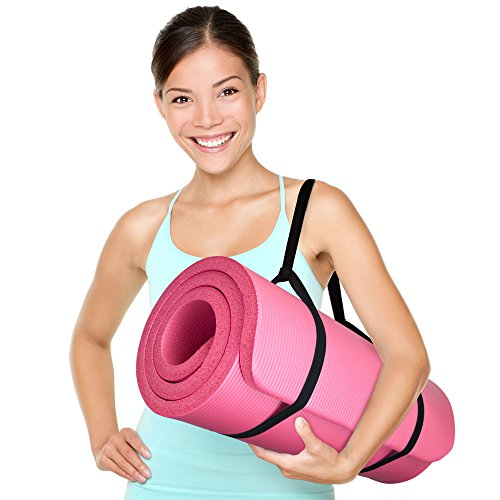 """Yoga Cloud Ultra Thick 1"""" Yoga and Exercise Mat with Shoulder Sling by Crown Sporting Goods"""
