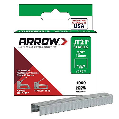Arrow Fastener 276 Genuine JT21/T27 3/8-Inch Staples, 1,000-Pack (Staple Gun Staples)