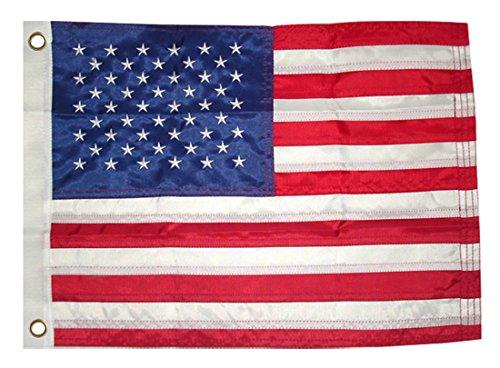 12x18 Inch Deluxe Motorcycle Boating Nylon Embroidered American USA Flag