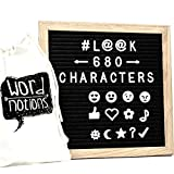 Felt Letter Board | 680 Characters, Letters & Emojis | @, $, ♥, ♪, More | Drawstring Canvas Pouch | 10'' x 10'' Oak Wood Frame
