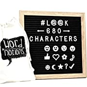 Changeable Square Letter Board | 680 Characters, Letters & Emojis | @, #, $, ♥,¢, ?, ♪, :), & MORE | Drawstring Canvas Pouch | 10  x 10  Oak Wood Frame