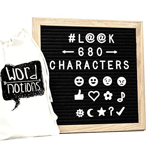 Felt Letter Board | 680 Characters, Letters & Emojis | @, $, ♥,¢, ♪, More | Drawstring Canvas Pouch | 10