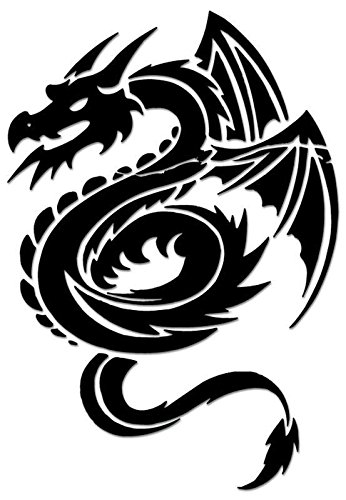 Tribal Art Dragon Vinyl Decal Sticker For Vehicle Car Truck Window Bumper Wall Decor - [15 inch/38 cm Tall] - Gloss RED Color