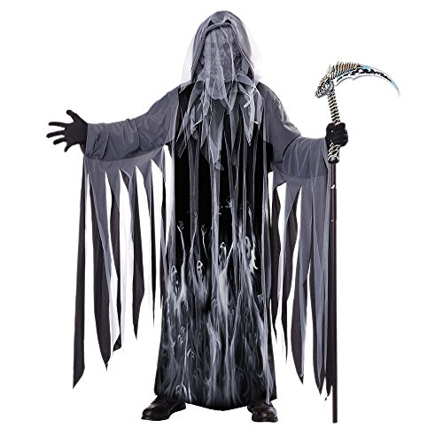 California Costumes Men's Soul Taker Scary Ghost Demon Skeleton Grim Reap, Black, Small/Medium