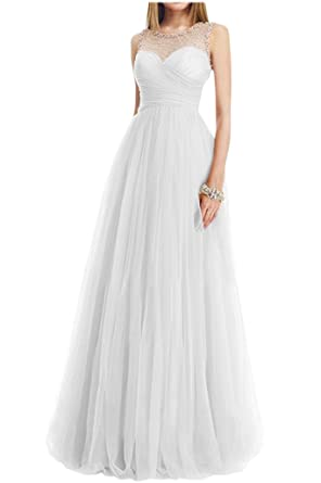 Victory Bridal Champagne Dog Collar Beads Evening Dresses Ball Dresses Graduation Prom Dresses Long - white