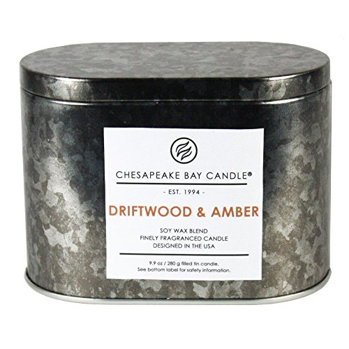 Chesapeake Bay Candle Heritage Collection Double Wick Tin Scented Candle, Driftwood & Amber Amber Scented Candle