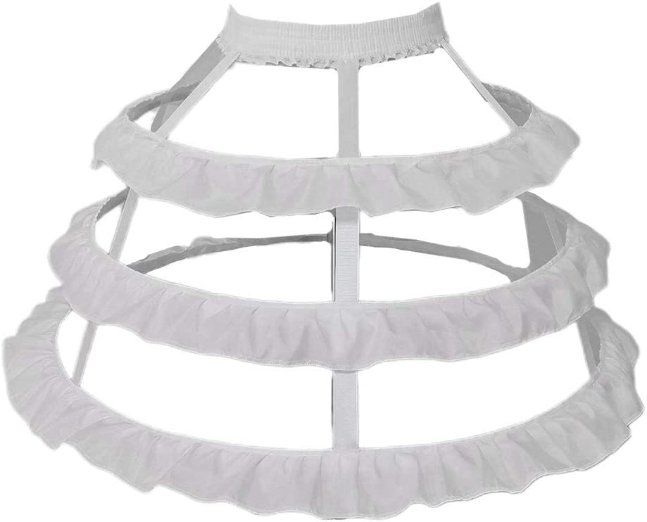 eletyuty Petticoats 1 Piece Women 3-Hoop Petticoat Skirt Hollow Out Ruffles Lolita Dress Pannier Bird Cage Wedding Cosplay Crinoline Underskirt Black