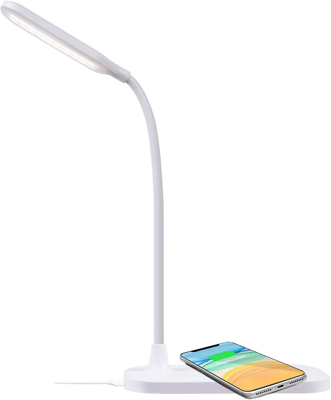 LED Desk Lamp with Wireless Charger, Eye-Caring Desk Light with USB Charging Port, 3 Lighting Modes, Touch Control Dimmable Table Lamp for Office, Study, Dormitory, Small White Desk Lamp