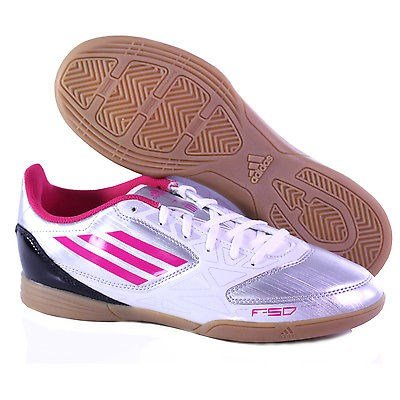 adidas Women's f5 in w-w, Bright Pink/Metallic Silver, 8.5 M US (Adidas Shoes Of Soccer)