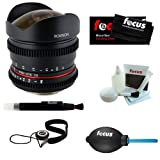ROKINON CV85M-NEX 85mm T1.5 Cine Aspherical Lens for Canon EF Mount + Focus Lens Cleaning Pen + Focus Lens Cap Keeper + Focus Professional Dust Blower + Focus Micro Fiber Cleaning Cloth + Focus 5 Piece Deluxe Cleaning and Care Kit