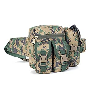 U-TIMES Unisex Nylon Military Travel Purse Tactical Waist Pack with Water Bottle Pouch(Jungle Camouflage)