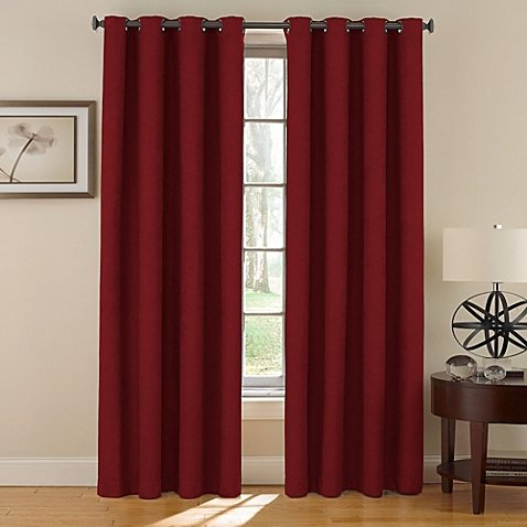 Window Curtain Foam Lined blackout thermal treatment Red wine - 7