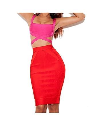 1f3c3b83aab Whoinshop Women's Bodycon Bandage Skirt Set Contrast Color 2 Pieces  Sleeveless Celebrity Bandage Dress Rose XS