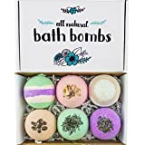 Robin's Egg Beauty - All Natural Bath Bombs for Relaxing Energizing, Detoxing, and Revitalizing, Lavender, Green Tea, Coffee, Orange, Eucalyptus, Coconut Milk Scents, Set of 6