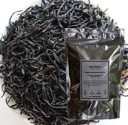 MeiMei Fine Teas Organic Sichuan Gongfu Black Tea - Premium Chinese Loose Leaf Black Tea - High Mountain Single Origin - Distinctive Flavor Chocolaty Roasted Cherry Flavor (100g/3.52oz)