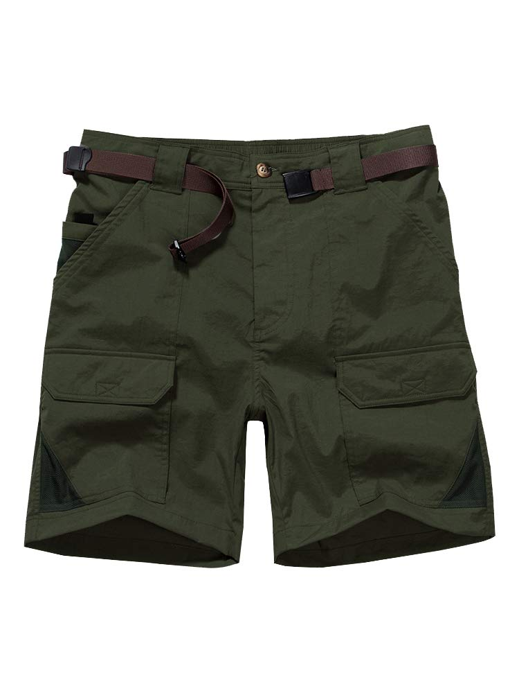 Men's Casual Elastic Waist Lightweight Water Resistant Quick Dry Stretch Cargo Fishing Hiking Shorts #6018-Army Green, 36 by Jessie Kidden