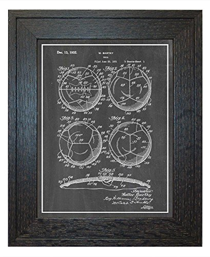 Soccer Ball Patent Art Chalkboard Print with a Border in a Rustic Oak Wood Frame (24'' x 36'') M12442 by Frame a Patent