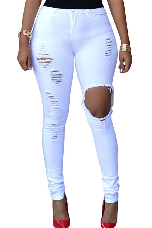 M.Brock Women's Destructed Slim Fit Skinny Denim Jean Ripped Hole
