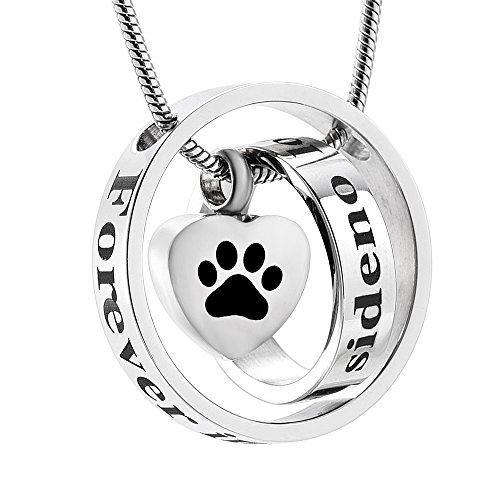 memorial jewelry Forever in My Heart,No Longer by My Side Cremation Pet Urn Necklace Screw Opens and Lock Ashes Pendant Jewelry for Dog Cat (Silver)
