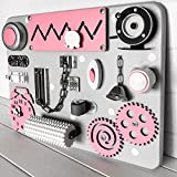 European quality. Handmade Wooden Busy board, Clever Puzzles, Locks and Latches Activity Board (pink)