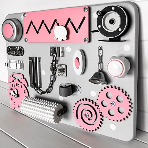 European quality. Handmade Wooden Busy board, Clever Puzzles, Locks and Latches Activity Board (pink) by MebliLine