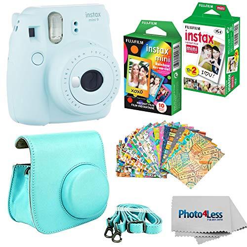 Fujifilm Instax mini 9 Instant Film Camera (Ice Blue) - Fujifilm Instax Mini Instant Film, Twin Pack - Fujifilm Instax Mini Rainbow Film - Case for Fuji Mini Camera - Fuji Instax Accessory Bundle