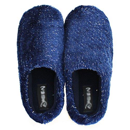 Anti Épaisse Chaleur Bleu Chaussons Pantoufles DWW Extérieur Intérieur Pur et de Dérapant Coton P1ZX1v7