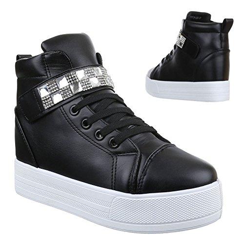Ital-Design Damen Schuhe, 51113-Y, Freizeitschuhe Keilabsatz High-Top Sneaker High-Top Keilabsatz Schwarz