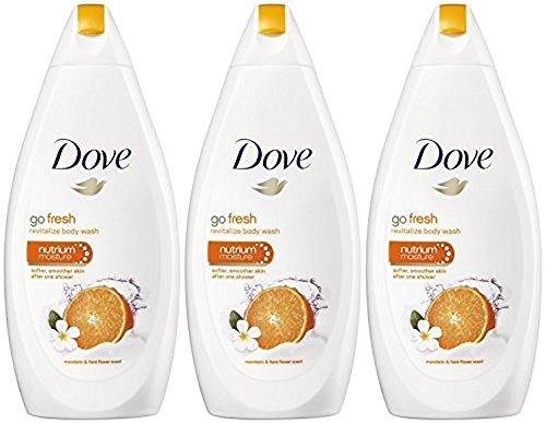 Dove Go Fresh Body Wash, Revitalize, Mandarin & Tiare Flower Scent, 16.9 Ounce/500 Ml (Pack of 3)