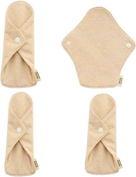 sharprepublic 4 Piezas Resuable Almohadilla Menstrual Compresas de Algodón Suave,6.9 x 6.2 pulgadas: Amazon.es: Bebé