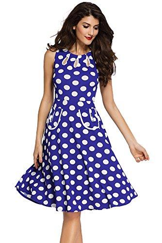 Sisiyer Women's Vantage Polka Dot Bohemian Print Dress Keyhole with Belt Blue White Small