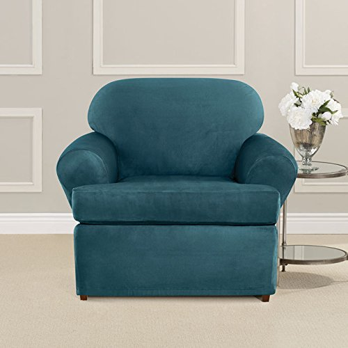 Sure Fit Ultimate Heavyweight Stretch Suede Individual 2 Piece T-Cushion Chair Slipcover - Peacock Blue by Surefit
