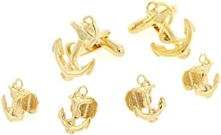 product image for JJ Weston Anchor and Rope Tuxedo Cufflinks and Shirt Studs. Made in the USA.