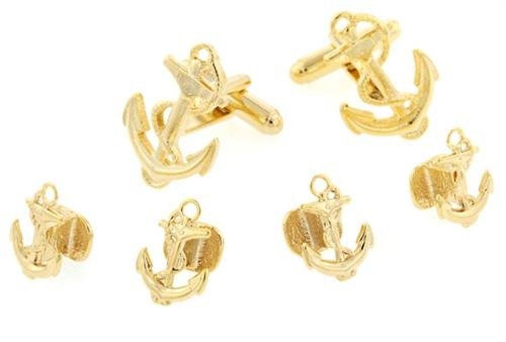 JJ Weston Anchor and Rope Tuxedo Cufflinks and Shirt Studs. Made in the USA.