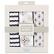 Hudson Baby Muslin Swaddle Blankets, 3 Count, Aztec