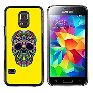 A-type Colorful Printed Hard Protective Back Case Cover Shell Skin for Samsung Galaxy S5 Mini / Samsung Galaxy S5 Mini Duos / SM-G800 !!!NOT S5 REGULAR! ( Hippie Lsd Weed Yellow Skull Deep )