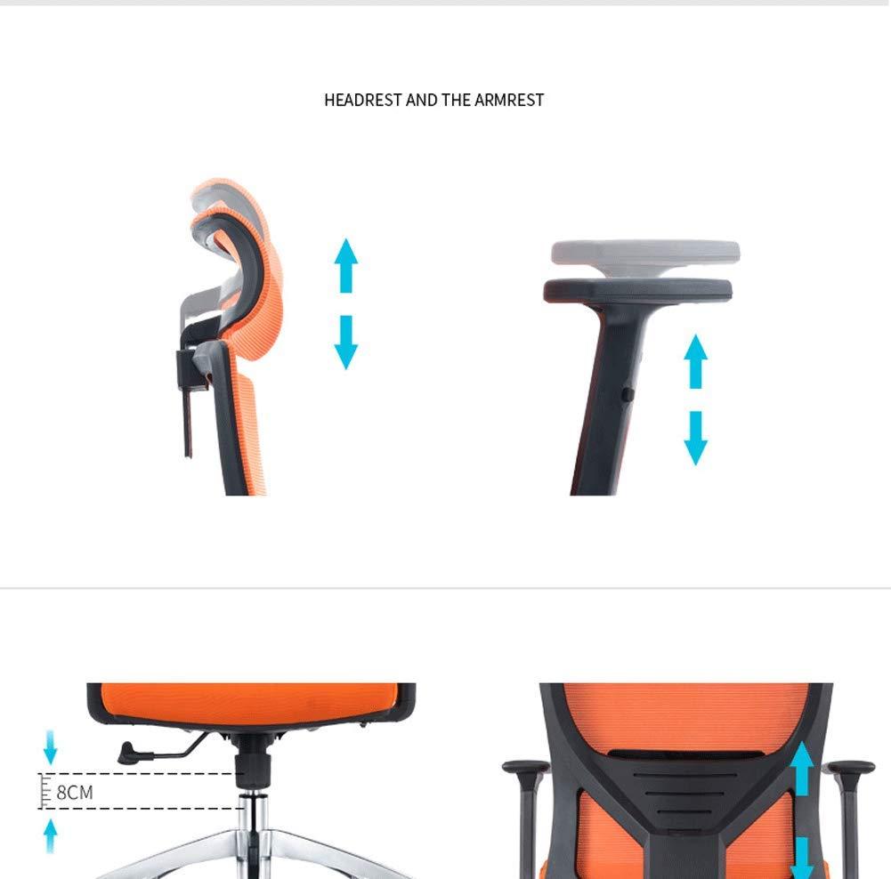 Ergonomisk kontorsstol hög rygg mesh kontorsstol, justerbart nackstöd och korsryggstöd, 360 svängbar datorstol-svart Orange