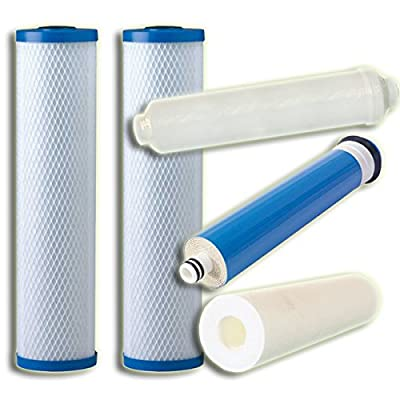 5 Stage Reverse Osmosis Replacement Filter Bundle (50 Gpd, Universal) by CuZn
