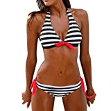 Hot Sale!Women Bikini Set,Canserin Women's Striped Bandage Two-Piece Swimsuit Bikini Set Swimwear Beachwear Bathing Suit (S, Black)