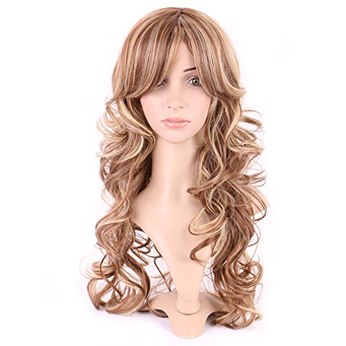 Long Curly Synthetic Wig with Bang 2 Tone Japanese Kanekalon Fiber 15 Styles Heat Resistant Full Wig Full Head 20'' / 20 inch+Stretchable Elastic Wig Net for Women Girls Lady,Ombre brown blonde