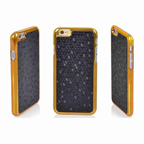 """Splendid(TM) iPhone 6 Gold Chrome Case, iphone 6 Black Luxury Case Designer Novelty Luxury Black Fiber Pattern Ultra Thin Gold Chrome Frame Hard Back Case Bumper Cover for Apple iPhone 6 4.7"""" (Chrome Black i6)"""