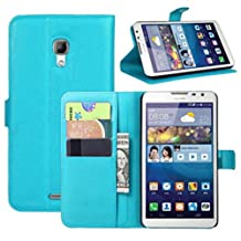 Premium Leather Wallet Case Cover with Stand Card Holder for Huawei Ascend Mate 2 4G (Wallet - Sky Blue)