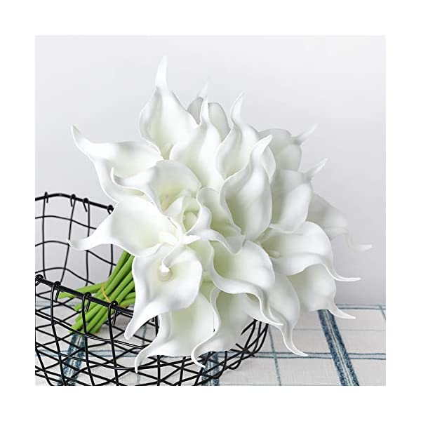 20Pcs Calla Lily Fake White Flowers Wedding Bouquet Artificial Real Touch Latex Flowers Home Wedding Party Decor (White)
